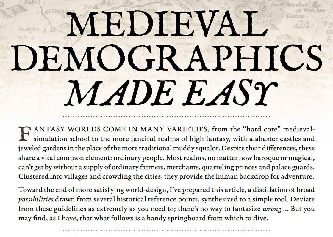 Medieval Demographics Made Easy (by S. John Ross)